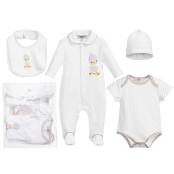 Baby Rompers, Bib, Hat, 4-piece (Gift) Set