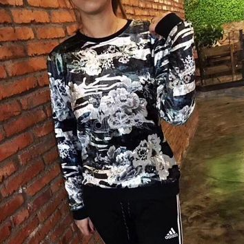 LMFON1 Adidas Fashion Galaxy Print Long Sleeve Pullover Sweatshirt Top Sweater
