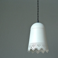 Delicate Lace White Planter Hanging Light w/ Cloth Cord