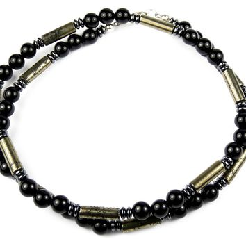 """Performance"" Men's Crystal Healing Necklace Gold Pyrite, Black Onyx, Hematite MN24"