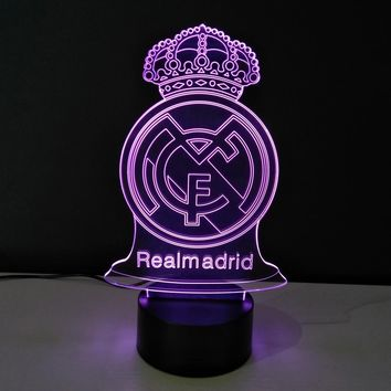 Real Madrid Futbol Football Soccer Ronaldo Zidane Modern Futuristic LED Color-Changing USB-Powered 3D Illusion Night Light Desk Lamp