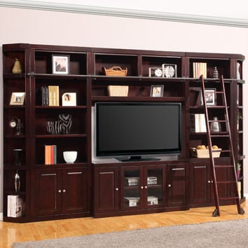 Boston Library Entertainment Wall Ladder 6 Piece Merlot