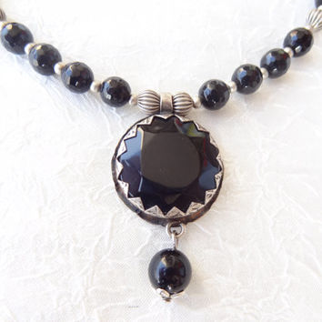 Black Onyx Necklace, Black Onyx Pendant,  Semiprecious Stone Jewelry, Black Onyx Jewelry, Feminine,  Mother's Day