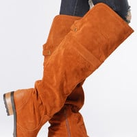 Qupid Rust Knee High Suede Riding Boots