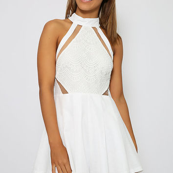 Roulette Playsuit - White