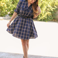 Plaid Fit and Flare Navy
