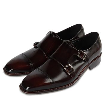 High Quality Straight Tip Double Monk Strap Shoes