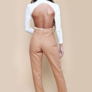 Cut Out Long Sleeve Turtleneck Bodysuit