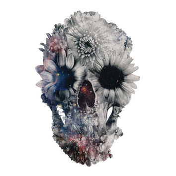 "Ali Gulec's ""Floral Skull 2"" Wall Decal"