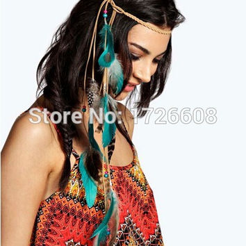 Fashion Festival Feather Headband Hippie Headdress Hair Accessory Boho Charm Peacock Feather Rope Knitted Belt Elastic Hairband
