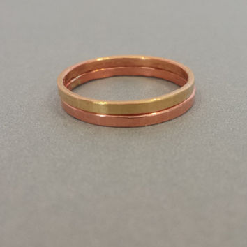 Set of Two Copper And Red Brass Stacking Rings Handmade Jewelry Stack Knuckle