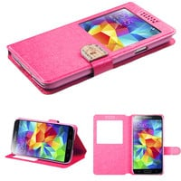 Book-Style Embossed Window Wallet Case for Galaxy S5 - Hot Pink