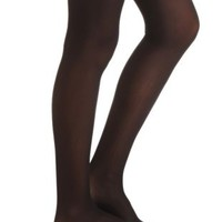 Sheer Bow Garter Tights by Charlotte Russe - Black