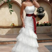 Mermaid Strapless Chapel train Satin wedding dress for brides 2012 Style(WDL0106) [WDL0106] - $195.98 :