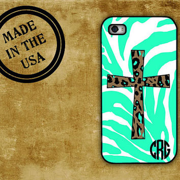 Iphone 4 case iPhone 5 - Personalized Monogram Tiffany blue animal print cross -  Religious iphone 4s cover, plastic or rubber (9980)