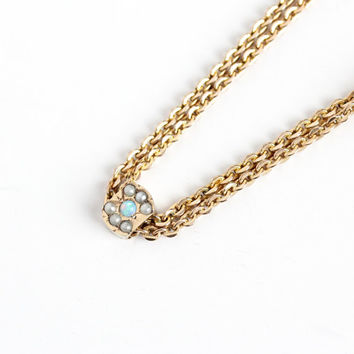 Sale - Antique 10k Opal Seed Pearl Round Slide Charm Necklace - Vintage Victorian Fob Pocket Watch Chain Layered Gold Filled Pendant Jewelry