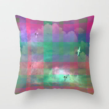 The Day the Sky Went Plaid Throw Pillow by Shawn Terry King