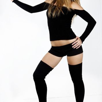 Thigh High Leg Warmers, Dance Shorts & Ballet Top