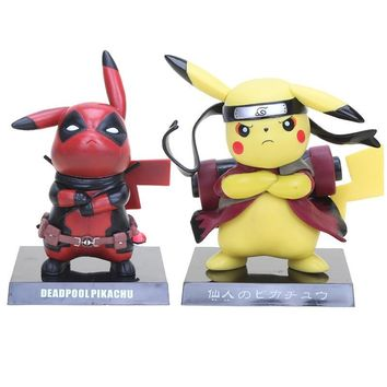 13.5cm  Figures Deadpool Pikachu Captain America Pikachu PVC Action Figure Collectible Model ToyKawaii Pokemon go  AT_89_9