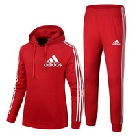 Adidas Autumn and winter new fashion letter print couple sports leisure hooded long sleeve top and pants two piece suit Red