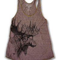 Moose Print (American Apparel Tri-Blend Racerback Tank Top)