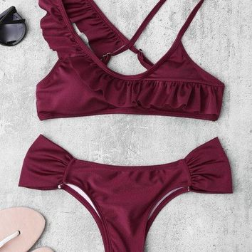 New 2018 summer Retro Wine Red Bikini Women Ladies Sexy Hot Brazilian Bikini Set Swimsuits Swimwear Bathing Suits Beachwear