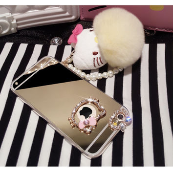 The new HELLO KITTY mirror Plush Doll ornaments with pearl chain IPHONE6PLUE mobile phone shell free shipping=ca375