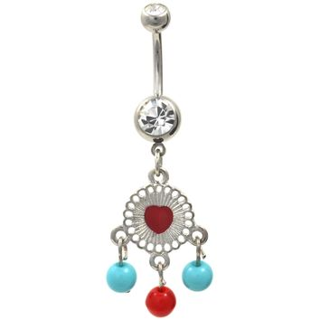 Southwest Style Heart Beads and Gems Belly Ring