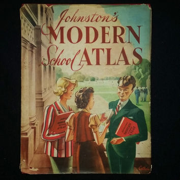 Vintage Johnston's Modern School Atlas 1953, Book of Maps with Dust Jacket. Rare book.