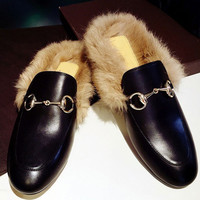 Genuine Leather Casual Slip On Loafer Flats Real Fur Shoes