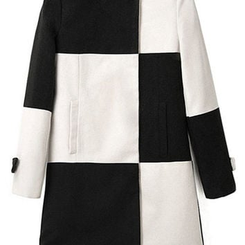 Color Block Long Sleeve Coat