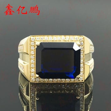 Natural shandong sapphire ring plate ring 5.68 carat through blue generous 18 k yellow gold diamond ring