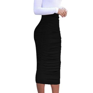 Ruched High Waist Pencil Skirt