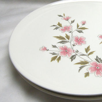 Vintage Dinner Plates Pink Green Flowers Taylor Smith and Taylor China Wild Quince Dinner Plates Floral Dinnerware Vintage Kitchenware