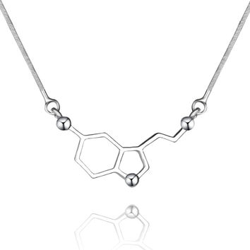 Serotonin Molecule Science Students Power Necklace Pendants Equation Chemical Structure Formula Love Necklaces For Men Women