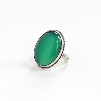 Vintage Sterling Silver Chrysoprase Ring - Size 3 1/2 Art Deco 1930s Green Gemstone Oval Cut Stone Statement Floral Embossed Jewelry