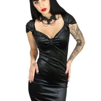 "Women's ""Killer Vamp"" Lace Up Velvet Corset Dress by Demi Loon (Black)"