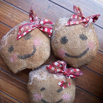 Holidays Christmas Decoration Primitive Prims Ornies Tucks Bowl Fillers Lil' Gingerbabies Burlap Home Decor Gingerbread Fragrant