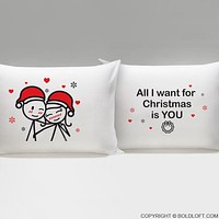 Merry Christmas™ Couple Pillowcases-Couples Gift,Boyfriend Gift,Gifts for Girlfriend,Christmas Gift,Gifts for Him,Gifts for Her,His and Hers Couple Gift,Husband and Wife Gift