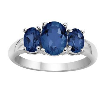 3 Carat Oval Genuine Sapphire 3-Stone Ring