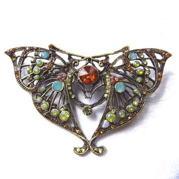 Vintage Butterfly Brooch  Filigree Butterfly Pin Moonstone Rhinestone Insect Jewelry