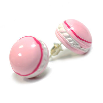 French Macaron Earrings - Pink macaroon cookie studs - Cute, kawaii miniature food jewelry, sweet lolita