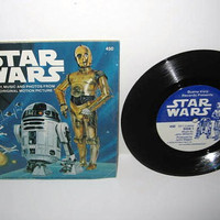 "Vinyl Record Album Star Wars Book & Record 7"" 1979 Star Wars Classic Sci Fi"