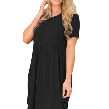 Chicloth Black Short Sleeve Pullover Babydoll Style Casual Dress