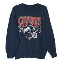 Vintage 90s New York NY Giants Football Navy Blue Crewneck Sweatshirt  | Adult Size Medium | NFL Retro 1990s 80s Soft Worn In Game Day Gift