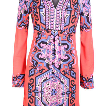 Brandie Red & Purple Printed Dress