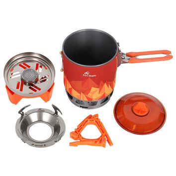 Outdoor Camping Cookware Set 2200W 0.8L Backpacking Picnic Cooking Pot with Piezo Ignition Gas Stove Outdoor Cooking System