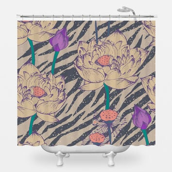Vintage Hipster Floral Pattern Shower Curtain