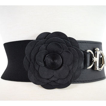 Vintage Pinup Retro Flower Accent Elastic Wide Stretch Waist Belt