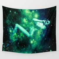 Green Galaxy Woman : Nude Art Wall Tapestry by Nude Art